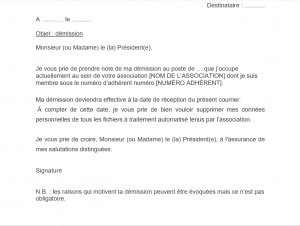 lettre démission bureau association